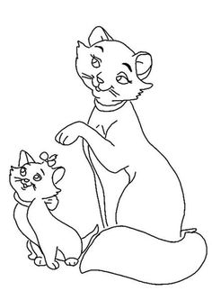 discover this amazing coloring page of the aristocats movie here the mother cat and her kittens a drawing for all disney movies lover