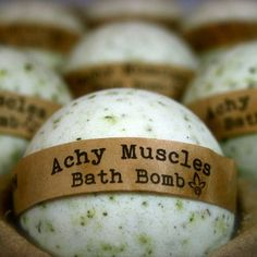 Achy Muscles Bath Bombs are made with carefully selected essential oils for an aromatherapy bathing experience. These bombs are loaded with essential oils, ground up comfrey leaves and minerals which are known to sooth those calm sore joints and muscles. Loaded with skin loving oils and butters to nourish. The scent is a custom blend of essential oils of Camomile, Rosemary, Lemongrass, Peppermint & Lavender. Simply drop a bath bomb into your filled tub and lay back and relax as your bath…