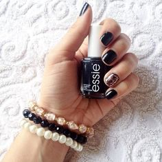 Perfect black nail polish Essie Licorice | Ootd, Leather and Polish