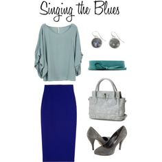 I like all the shades of blue together, and the belt is a fun touch. Capitol Hill Style's polyvore.