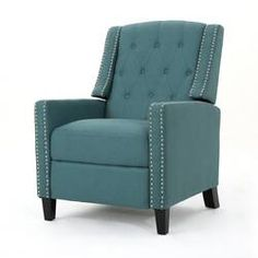 Amazing offer on Christopher Knight Home 302413 Izaak Recliner Chair, Dark Teal online - Topbrandshits Teal Living Room Furniture, Studio Furniture, Furniture Decor, Leather Recliner, Dark Teal, Dark Brown, Blue, Modern Chairs, Houses