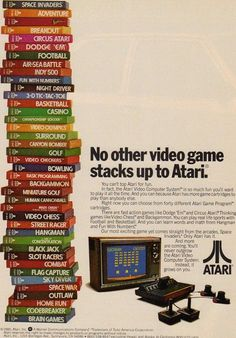 There it is, Video Olympics right in the middle of the stack. The best Atari game ever. Vintage Video Games, Vintage Videos, Retro Video Games, Vintage Games, Vintage Toys, Retro Advertising, Retro Ads, Vintage Advertisements, School Advertising