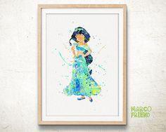 Princess Jasmine Aladdin Watercolor Art Print Home by MarcoFriend