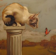 """""""Eye on Butterfly"""" a small original oil painting of a cat by Diane Hoeptner, $215."""
