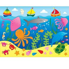 dibujos infantiles de peces a color - Buscar con Google
