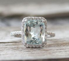 3.13 Cts. Radiant Aquamarine Diamond Engagement Halo Ring in 14K Rose Gold - March Birthstone on Etsy, $2,400.00