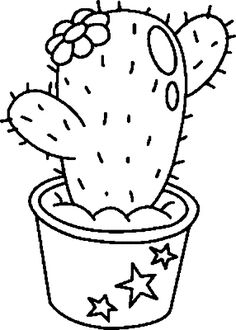 Riscos graciosos (Cute Drawings): Cactos e Suculentas (Cacti and Succulents) Cactus Drawing, Plant Drawing, Cactus Painting, Cactus Art, Embroidery Patterns, Hand Embroidery, Cactus Doodle, Cactus Clipart, Cute Coloring Pages