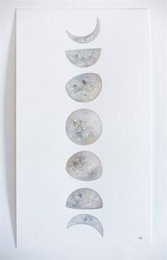 Moon Phases 2  Original Contemporary by NatashaNewtonArt on Etsy
