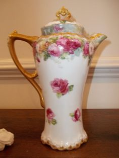 Large Limoges Chocolate Pot  Roses and Gold by CountryLadyClassics