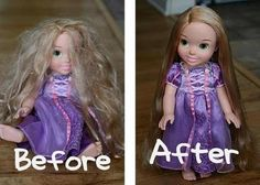 A small spray bottle with 2 TBSP of fabric softener, the rest water ,Doll Hairspray. Easy method for smoothing and renewing any doll's hair including Barbie's hair.
