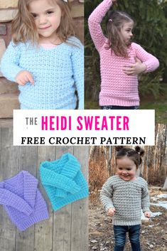 Free Crochet Sweater Pattern for kids the Heidi Sweater Make the Heidi Sweater a free crochet pattern for kids Kid s crochet sweater in sizes crochet freecrochetpatterns crochetsweater crocheting The Effective Pictures We Offer Crochet Toddler Sweater, Crochet Jumper Pattern, Crochet Baby Sweaters, Baby Sweater Patterns, Crochet Girls, Crochet Baby Clothes, Crochet For Kids, Easy Crochet, Free Crochet