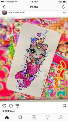 Disney Drawings, Cute Drawings, Laura Anunnaki, Kawaii Tattoo, 3rd Grade Art, Doodle Art Journals, Unicorns And Mermaids, Neon Rainbow, Desenho Tattoo