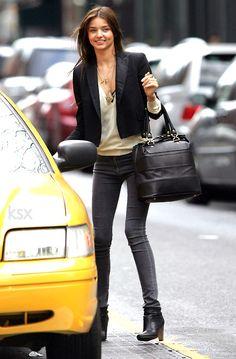 Black Blazer / Cream Knit Sweater / Grey Skinny Jeans