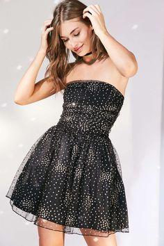 Motel Sisley Glitter Dot Strapless Mini Dress