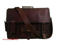 bc3a28daab Real Goat Leather Messenger Bag Satchel Laptop MacBook Crossbody Bag 13