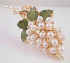 Swoboda Jade Pearl Grape Bunch Brooch Pin Pre by Libbysmomsvintage