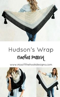 Crochet Poncho Ravelry: Hudson's Wrap pattern by MJ's Off The Hook Designs Crochet Beanie, Crochet Cardigan, Crochet Scarves, Crochet Clothes, Crochet Lace, Crochet Stitches, Crochet Hooks, Ravelry Crochet, Old Shirts