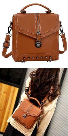 194188401c Unique Ladies Rivet Small PU Multi-function Shoulder Bag Backpack  backpack   Bag