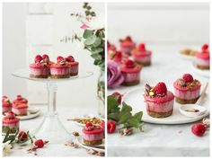Raspberry Rose Mini Cheesecakes with Pistachio Crumble {gluten, dairy, refined sugar free}