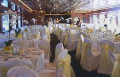 Mellow Yellow Wedding Reception Area This wedding reception area is bright and cheery using a white & yellow color scheme. Yacht Wedding, Wedding Reception, Table Centerpieces, Table Decorations, Centrepieces, Wedding Tags, Wedding Ideas, Reception Areas, Yellow Wedding