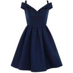 **Chi Chi London Petite Bue Bardot Dress (3.100 UYU) ❤ liked on Polyvore featuring dresses, blue, petite, chi chi dresses, petite dresses and blue dress