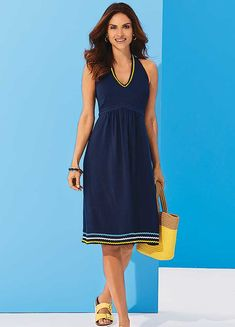A flattering fit and flare navy halter dress with a scalloped contrast ric rac to the neckline and the hem, a perfect summer holiday dress. Maxi Wrap Dress, Floral Maxi Dress, Holiday Fashion, Holiday Style, Summer Holiday Dresses, Drape Gowns, Short Lace Dress, Different Dresses, Satin Dresses