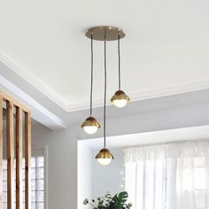 """Metal Dome Multiple Lamp Pendant Simplicity 3-Bulb 12"""" Width Brass Hanging Light Kit with Ball Opal Glass Shade"""
