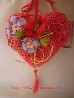 La Signora delle Idee: Rosso come la passione, il mio cuore all'uncinetto...
