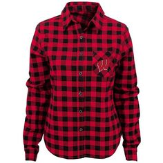 Juniors' Wisconsin Badgers Buffalo Plaid Flannel Shirt ($45) ❤ liked on Polyvore featuring tops, red, long sleeve tops, buffalo plaid flannel shirt, flannel shirts, pocket shirts and plaid shirts