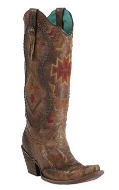My beautiful new boots! Corral Women's Vintage Cognac Crater with Aztec Embroidery Snip Toe Tall Western Boots Cowgirl Chic, Cowgirl Boots, Western Boots, Riding Boots, Cowgirl Outfits, Outfits With Hats, Bar Outfits, Westerns, Boot City