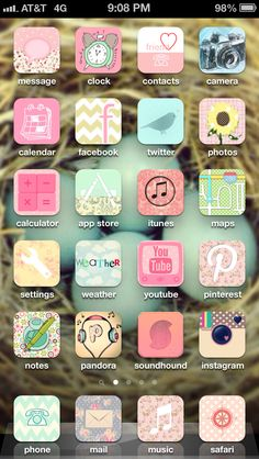 Girlied up my phone using the cocoppa app. :) Some icons for native apps (like the phone) are admittedly just for show, but I kept the next page set up the exact same with the originals (which you have to keep anyway) for easy use! Original pin with instructions is on { carolina's board }.