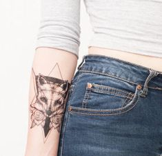 Geometric Fox Temporary Tattoo - Fox Tattoo - Fox - Fox and Rose Temporary Tattoo