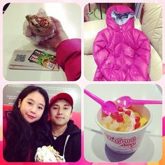 """@bonita_tiamo's photo: """"Had an eventful day today. My parents got me a Kathmandu jacket . I tried Pita Pit for the first time and it's so freaking good!!  And to finish it off Khenko and I got some dessert which came with the cutest little heart spoons  mmm! #kathmandu #winter #food #dessert #pitapit #yoghurtstory #thankful #happy"""""""