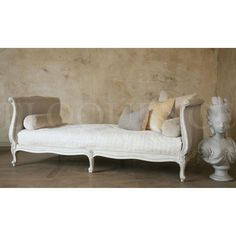 Classic Louis XV Style Twin Day Bed with a beautiful hand carved serpentine beech wood frame. Finished in Antique White or Swedish Grey and beautifully upholstered in our fog linen. Please note: does not include mattress.