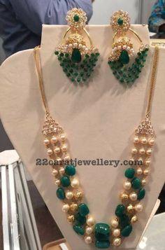 Light Weight Beads Sets by Balaji jewellers Kids Gold Jewellery, Mens Gold Jewelry, Emerald Jewelry, Gold Jewellery Design, Gems Jewelry, Beaded Jewelry, Jewelery, Latest Jewellery, Gemstone Jewelry