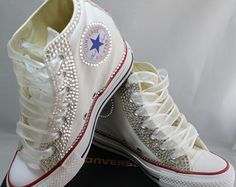 Wedge Bridal Converse- Wedding Converse- Bling & Pearls Custom Converse Sneakers- Personalized Chuck Taylors- All Star Converse Sneakers by DivineUnlimited on Etsy Bedazzled Converse, Converse Wedding Shoes, Wedding Sneakers, Custom Converse, Prom Shoes, Converse Logo, Bling Wedding Shoes, Bling Shoes, Bridal Shoes