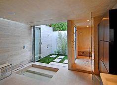 bathroom, sunken tub, modern, travertine, patio, sauna, Janna Levenstein, West Hollywood