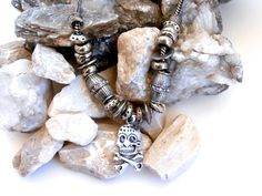 Mens Skull Necklace - Repurposed Jewelry by ReTainReUse on Etsy