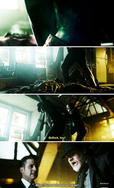 """""""What?! Scared the hell out of me!"""" - Bullock and Jim #Gotham ((I would have kicked him too))"""