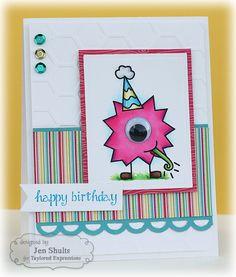 Card by Jen Shults SU Whisper White, Baja Breeze cardstock. Happy Birthday Cards Handmade, Birthday Cards For Boys, Handmade Cards, Boy Cards, Kids Cards, Cards Diy, Aliens, Monster Cards, Funny Cards
