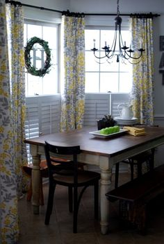 Yellow and Gray curtains made from table cloths
