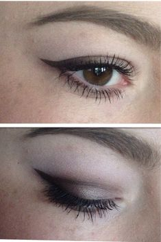 """Hooded Eye wing eyeliner - """"I started out by applying a base on my entire eyelid. I then went over the base with a pale skin toned eyeshadow to make blending easier. I applied a pale brown eyeshadow to the crease (or where one should be) I got a small synthetic brush and drew the wing making sure to blend it all smoothly as I went onto the eyelid. Lastly I got a darker brown shaddow and set the liner slightly and smoothed that gradient out a bit more. Hope that helps! ️Xx"""""""