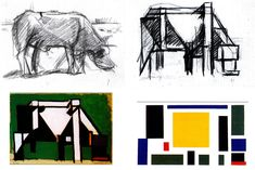 "Theo van Doesburg, ""Abstraction of a Cow, Four Stages"", (1917)"