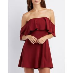 Charlotte Russe Ruffle Off-The-Shoulder Skater Dress ($29) ❤ liked on Polyvore featuring dresses, wine, red fit and flare dress, skater dress, red skater dress, off the shoulder skater dress and off-the-shoulder dresses