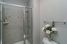 3' x 4' Master Shower with Leonia Silver subway tiles and smokey topaz mosaic accent tiles.
