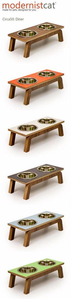 Mid Century Modern Pet Feeder // Six Retro Colors by modernistcat, $67.00 http://www.catsonyards.com/product-category/beds-furniture/activity-trees/