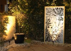 Laser cut screen - Illuminated garden feature - Chestnut design by Miles and Lincoln. www.milesandlincoln.com