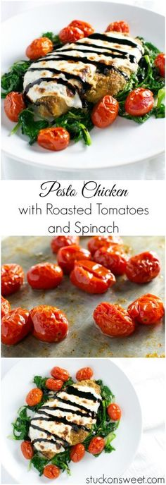 Pesto Chicken with Tomatos, Spinach and Balsamic Glaze