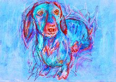 Dachshund owner Gift, Dog Painting, Pastel and watercolour, Blue and red…