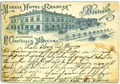 Brăila de altădată... Hotel Francez, astăzi sediul Muzeului Brăilei Bucharest Romania, Vintage World Maps, History, Retro, Postcards, Country, Architecture, Hot, Beauty
